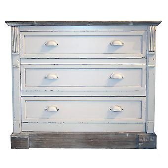 Charles Bentley Shabby Chic Chest of 3 Drawers White Bedroom Furniture