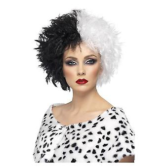 Womens onde Madame Cruella parykk Fancy kjole tilbehør