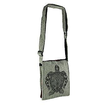 Henna Sea Turtle Boho vouw Over kleine katoen Crossbody tas