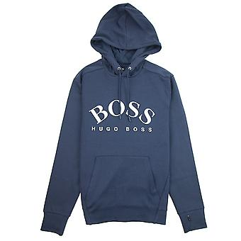 Hugo Boss Curved Logo Soggy Hooded Sweatshirt Navy