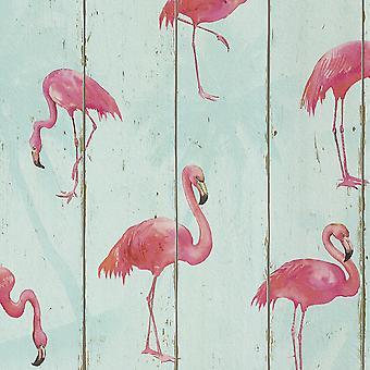 Barbara Becker Flamingo Wallpaper Petrol Rasch 479706