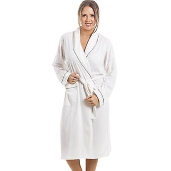 Camille Soft Cosy Knee Length Long Sleeve Mink Polka Dot Dressing Gown
