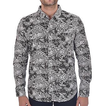 Rohkea sielu miesten tekstuuri älykäs pitkähihainen kuviollinen nappi paita-musta