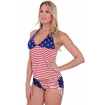 Kvinner ' s USA flagg tankini & string shorts