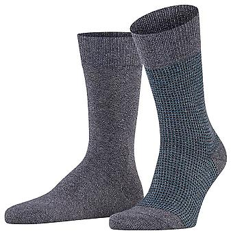 Esprit Kontrast Pique 2-Pack Socken - Cinder Grey