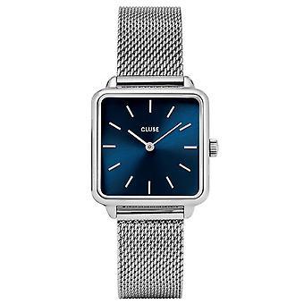 CLUSE La Tetragone Square Blue Dial Silver Steel Bracelet Ladies Watch CL60011