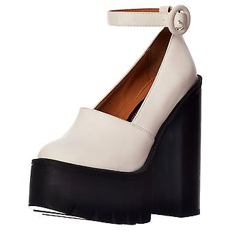 Onlineshoe Macey Cleated Sole Platform High Heels - Ankle Strap- Black, White