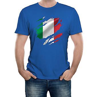 Realität Glitch gerissen Italien Flagge Herren T-shirt