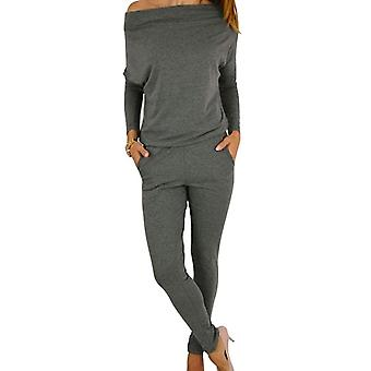 Vincenza womens chic casual off shoulder long sleeve jumpsuit playsuit casual