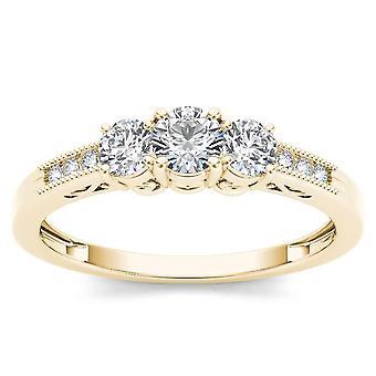 Igi certified 14k yellow gold 0.50ct natural threestone diamond engagemet ring