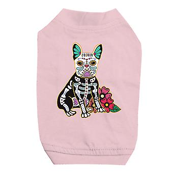 Frenchie Day Of Dead Funny Halloween Cute Pink Pet Shirt for Small Dogs