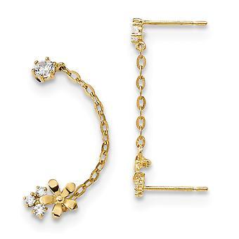 5.5mm 14k Madi K CZ Cubic Zirconia simuleret Diamond Dobbelt Post med kæde blomst øreringe smykker gaver til kvinder