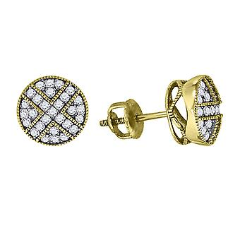 925 Sterling Silver Mens Yellow tone CZ Cubic Zirconia Simulated Diamond Round Stud Earrings Jewelry Gifts for Men