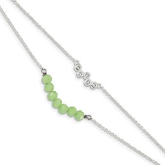 925 Sterling Silver CZ Cubic Zirconia Simulated Diamond and Green Glass Beads With 1inch Ext. Bracelet 6 Inch