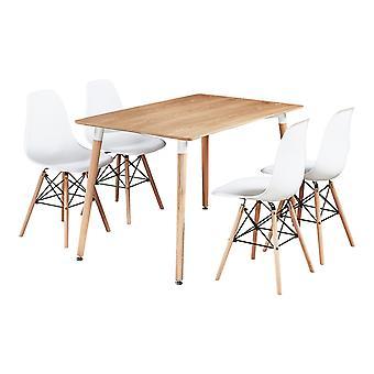 Set da tavolo da pranzo Halo con 4 sedie Eiffel
