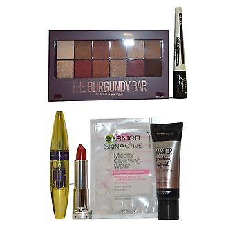 Maybelline The Burgundy Bar Compact, Highlighter Colossal Mascara, Lipstick, Master Ink+