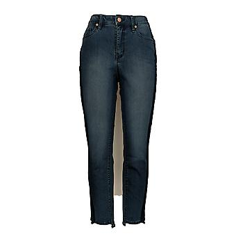 Martha Stewart Women's 5-Pocket Ankle Jeans w/ Tuxedo Stripe Blue A307745