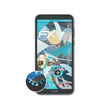 atFoliX 3x Protective Film compatible with Huawei Y6 2018 Screen Protector clear&flexible