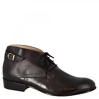ليوناردو أحذية النساء & ق أحذية تشوكا اليدوية في الماعز الأسود الجلود مشبك الظهر