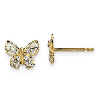 14k Madi K mariposa ángel alas CZ Cubic Zirconia simulado diamante Stud pendientes de joyería regalos para las mujeres