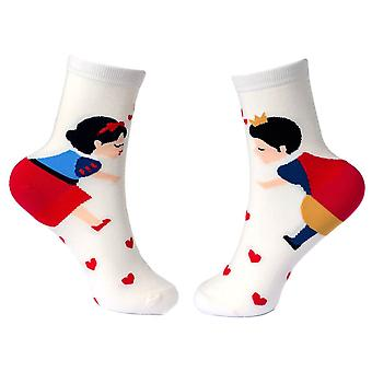 Women's Hearts and Snow Princess Storytime Crew Socks