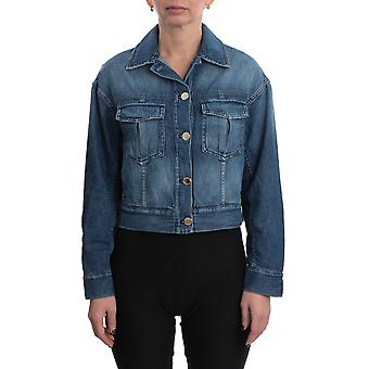 Pinko 1j10ecy5x8g14 Women's Blue Cotton Outerwear Jacket
