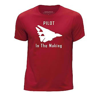 STUFF4 Boy's Round Neck T-Shirt/Funny Pilot In The Making/Red
