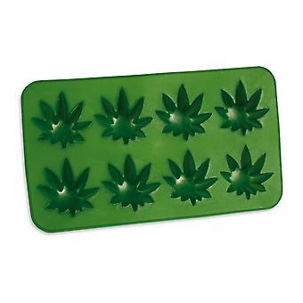 Ice Cube Shape Cannabis Sæt Hamp Blade Shape Green, Sæt med 2, 100% Silikone, for 8 isterninger.