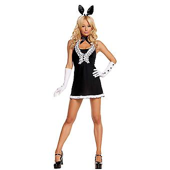 Womens Black Tie Adult Bunny Halloween Animal Costume