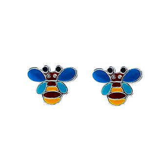 TOC Girls Sterling Silver Multicoloured Bumble Bee Stud Earrings
