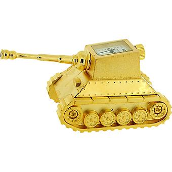 Miniature Gold Plated Metal Army BattleTank Novelty Collectors Clock IMP1017