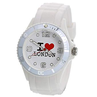 Citron Unisex White Dial 'I Love London' Fashion Rubber White Strap Watch UJ17A