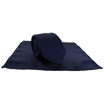 Michelsons of London Silm Satin Polyester Pocket Square and Tie Set - Navy