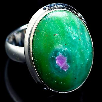 Ruby Fuchsite Ring Size 5.25 (925 Sterling Silver)  - Handmade Boho Vintage Jewelry RING4726