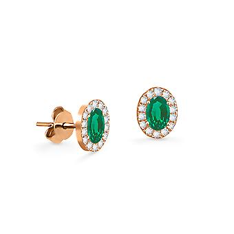 Earrings Princess 18K Gold and Diamonds with Ruby | Emerald | Sapphire - Rose Gold, Emerald