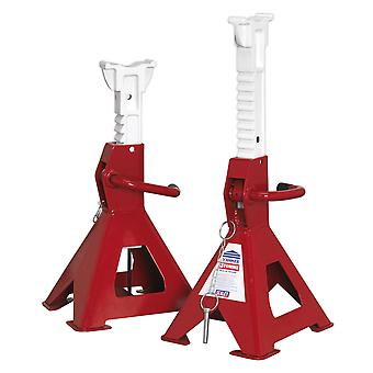 Sealey Aas3000 Axle Stands (Pair) 3Tonne Capacity Per Stand Auto Rise Ratchet