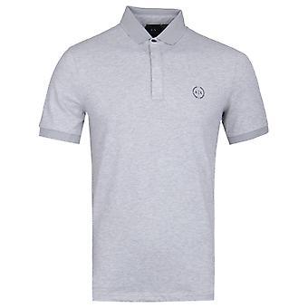 Armani Exchange Mesh Collar Grey Polo Shirt