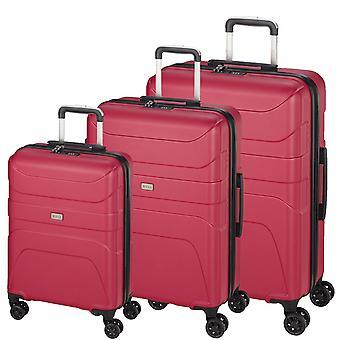 d&n Línea de viaje 2100 Suitcase Set 3 piezas 4 ruedas S-M-L, Rosa
