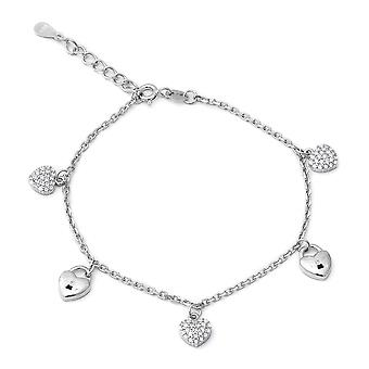 ELANZA 1.48 Ct Cubic Zirconia CZ Charm Bracelet Sterling Silver Size 7""