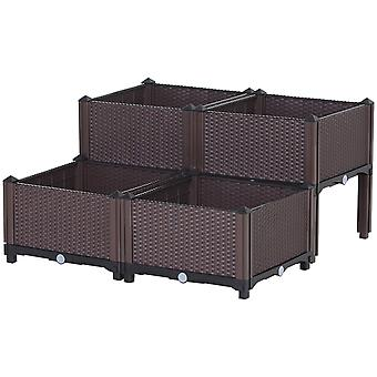 Outsunny 4-Box Rattan-Effect Raised Flower Planter Bed w/ Self Water Disc 4 Legs Grow Flowers Herbs Vegetables Outdoor Garden Square Brown
