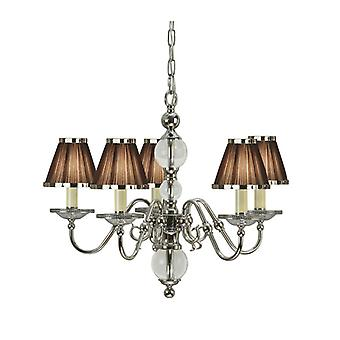 Tilburg Chandelier, Polished Nickel, 5 Chocolate Shades