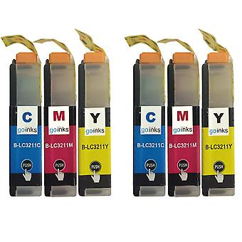 2 sets C/M/Y-inktcartridges ter vervanging van Brother LC3211 Compatible / niet-OEM voor Brother DCP- en MFC-printers (6 inkten)