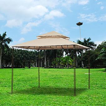 Yescom 10.6'x10.6' Gazebo Top Replacement for 2 Tier Madaga Frame Canopy Cover Patio Garden Yard Light Beige Y00710T01
