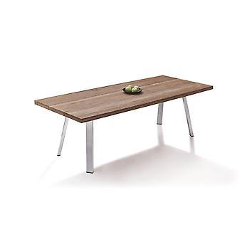 Edelstahl Esstisch Sevilla 240 cm - Teak