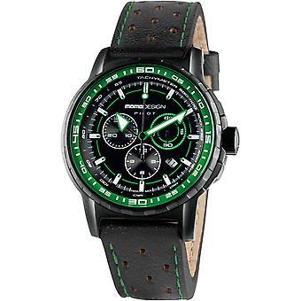 MOMO Design Pilot Watch MD2164BK-32 - Leather Gents Quartz Chronograph