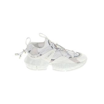 Jimmy Choo Diamondtrailfehlopticalwhite Women's White Leather Sneakers