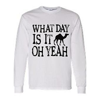 Hombres's ¿Cuál día es? ¡Venga, sí! ¡Día de la joroba! Camiseta de manga larga