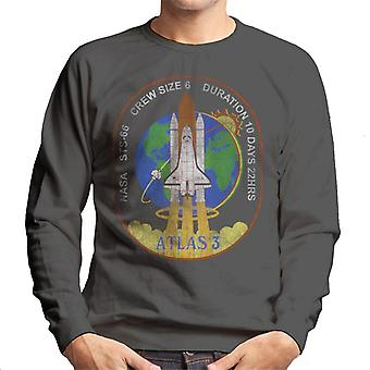 NASA STS 66 Atlantis Mission Badge Distressed Men's Sweatshirt