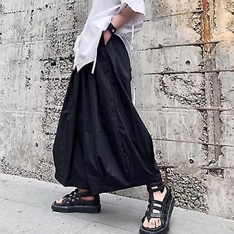 الرجال فضفاضة عارضة أسود واسعة الساق السراويل