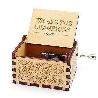 Queen - We Are The Champions Antique Carved Wooden Hand Crank Music Box